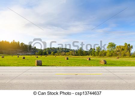 Countyside clipart side view Csp13744637 View of Side Road