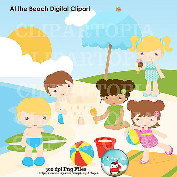 Beach clipart cute beach And Girl Digital  At