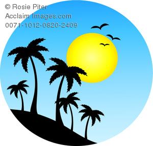 Eiland clipart tropical bird Palm Against of Island a