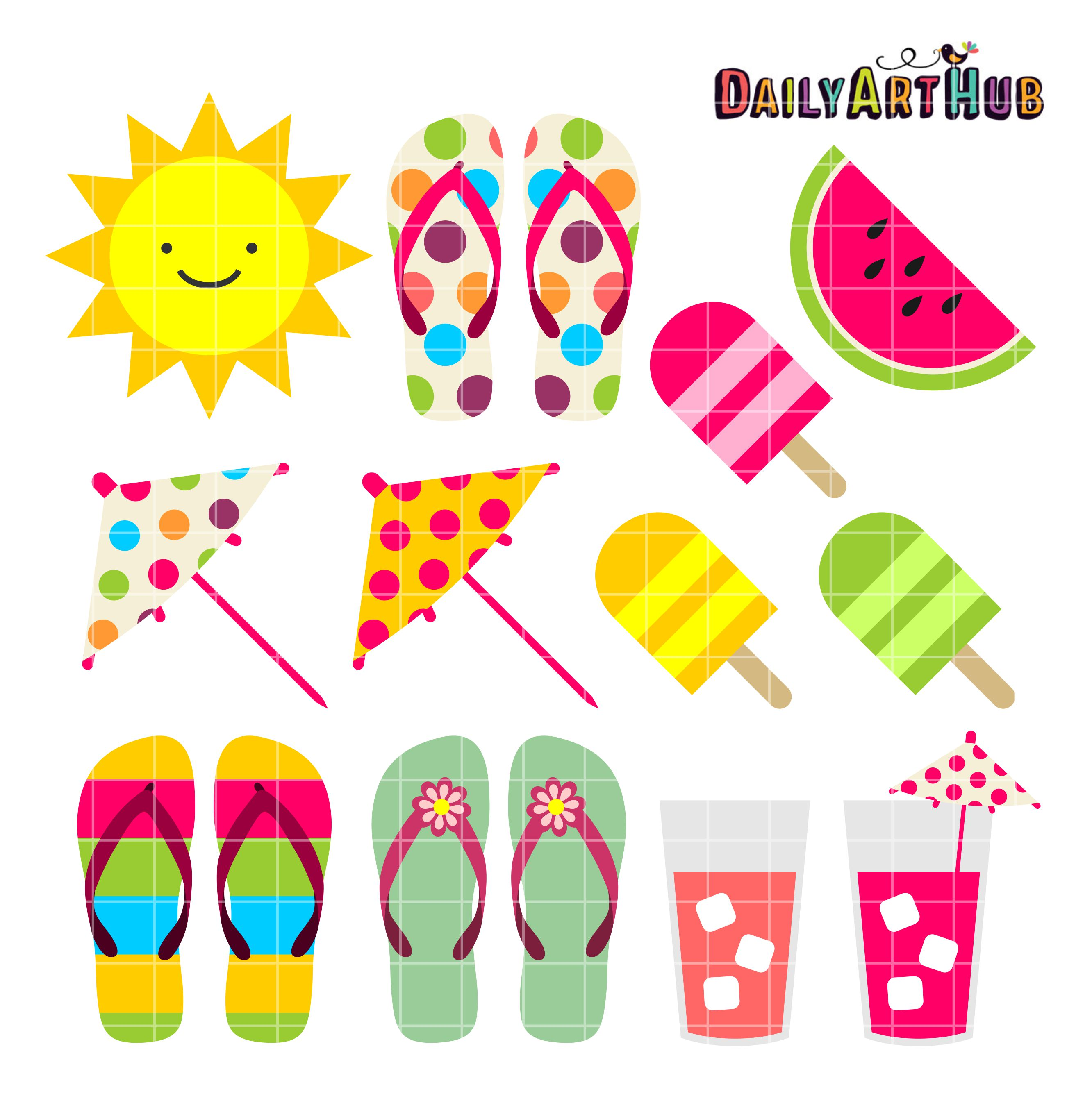 Sandal clipart summer thing Art summer Pin more Set