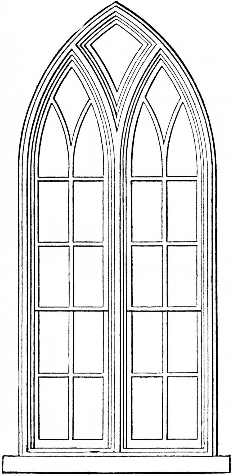 Simple clipart stained glass window #13