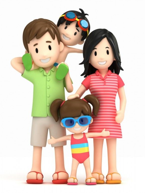 Vacation clipart happy family 3D famille image Pinterest best