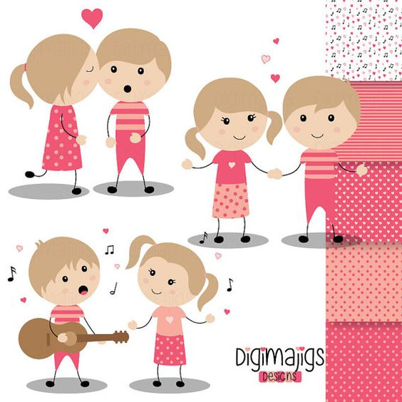 Serenade clipart Girls Kiss Valentine's Clipart and