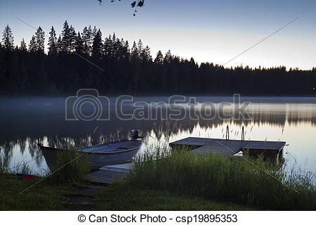 Serene clipart nature At over lake reed of