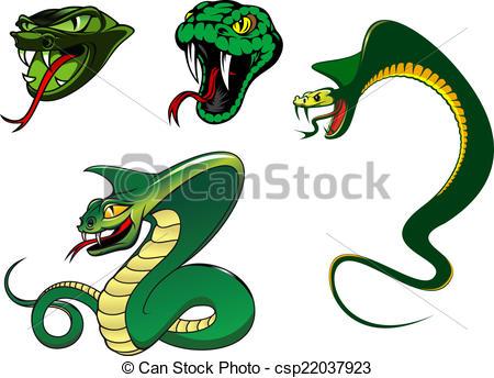 Drawn snake angry snake Illustration angry Vector characters Cartoon