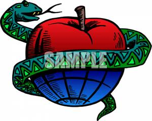 Serpent clipart apple Around Wrapped Image Snake Clipart