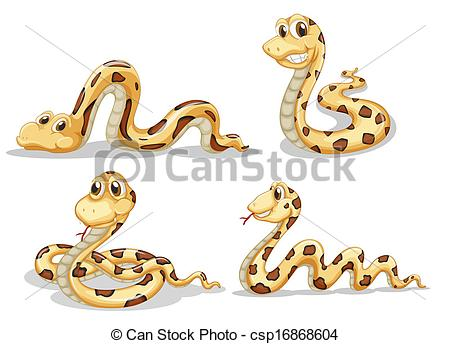 Serpent clipart crawl Four scary Clipart Vector Illustration