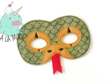 Serpent clipart face mask Etsy mask Felt Snake Mask
