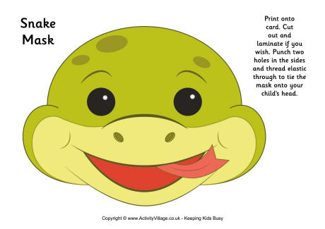 Serpent clipart face mask Mask Printable Snake Mask 2