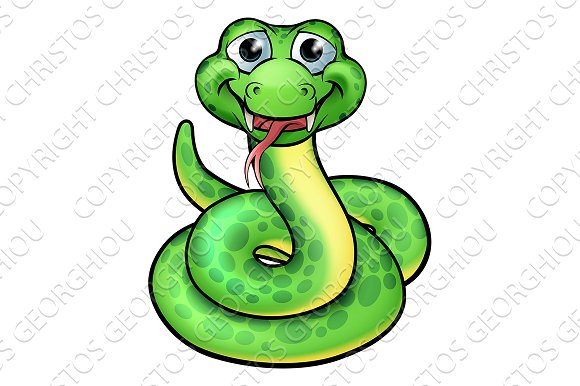 Smooth Green Snake clipart black and white Friendly Snake Snake Cartoon Market