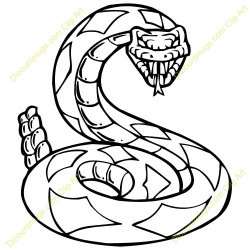 Rattlesnake clipart black and white #4