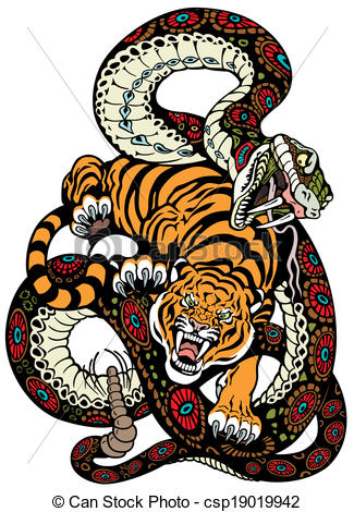 Serpent clipart serpiente Snake tiger and Vector of