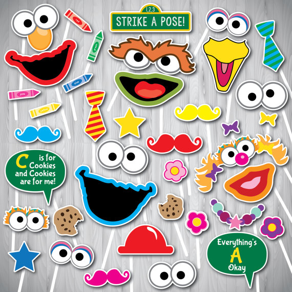 Sesam Street clipart photo booth prop Sesame Props Props Street Booth