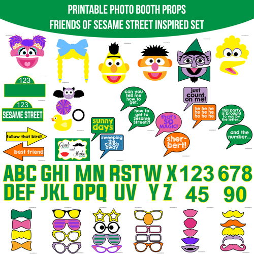 Sesam Street clipart photo booth prop Friends Sesame Inspired Photo Street