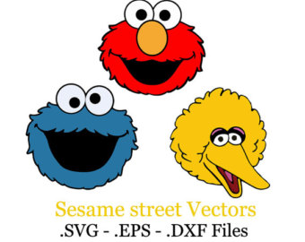 Sesame Street clipart vector Monster party Set elmo EPS