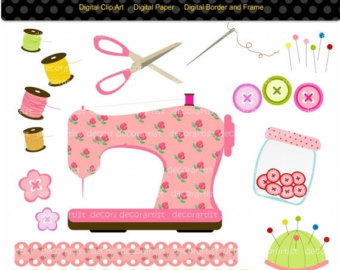 Sewing Machine clipart sewing button #6