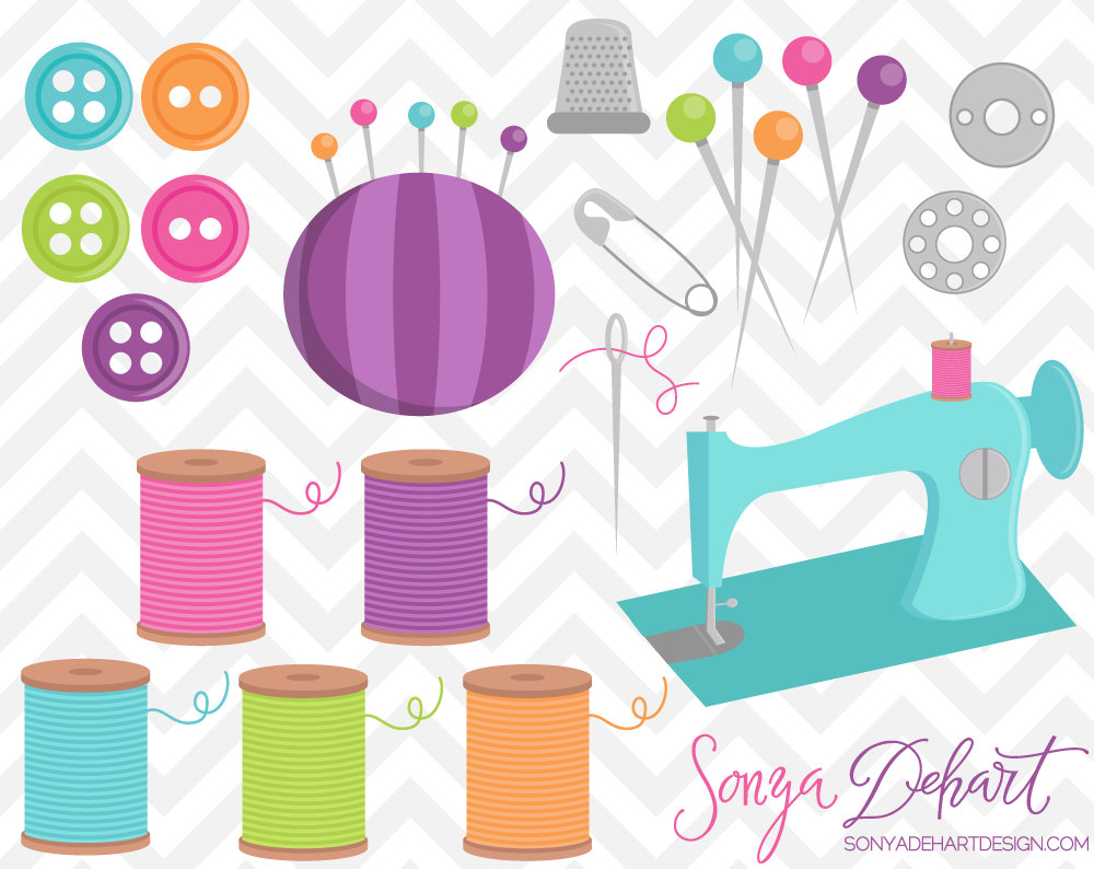 Sewing Machine clipart sewing button #5