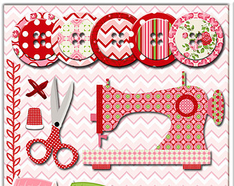 Sewing Machine clipart sewing button #7