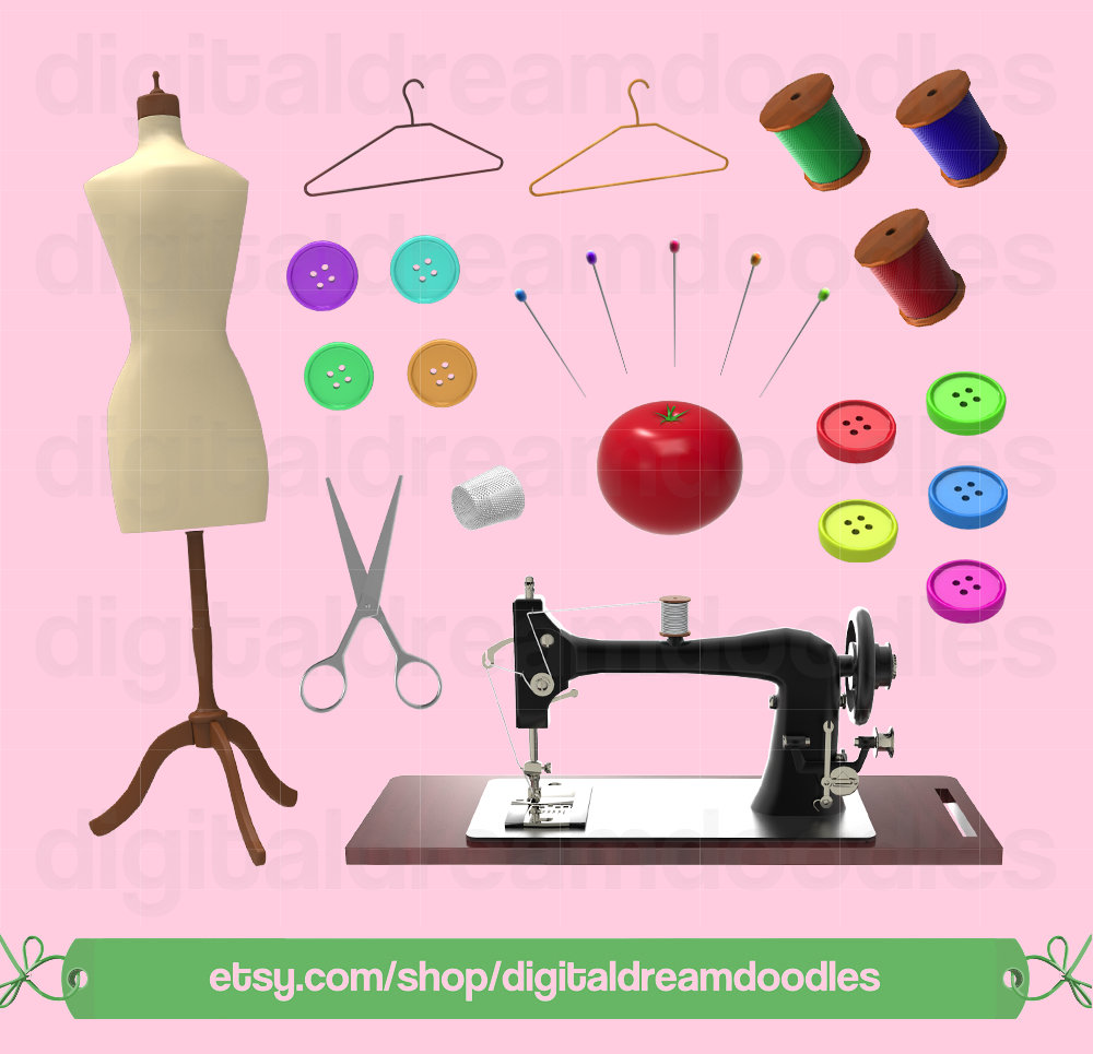Sewing Machine clipart sewing button #9
