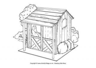 Shack clipart horse house Horse Page Colouring Colouring Scene