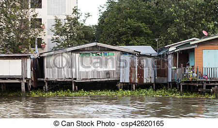 Shack clipart river Thailand Stock shacks neighborhoods the