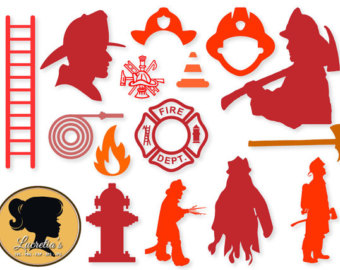 Shadow clipart fireman For files Silhouette Etsy svg