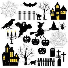 Halloween clipart bake sale Silhouette inmediata Halloween digital Halloween