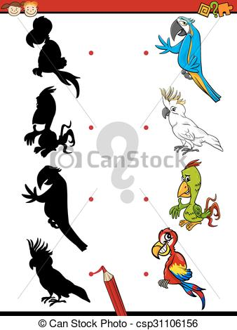 Shadows clipart parrot Cartoon educational of Vector kids