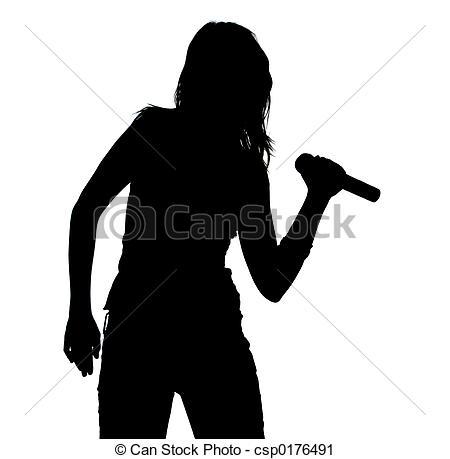 Shadows clipart singer Girl Singer of Singing csp0176491