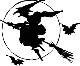 Moon clipart witch Halloween Silhouette Domain  Clipart