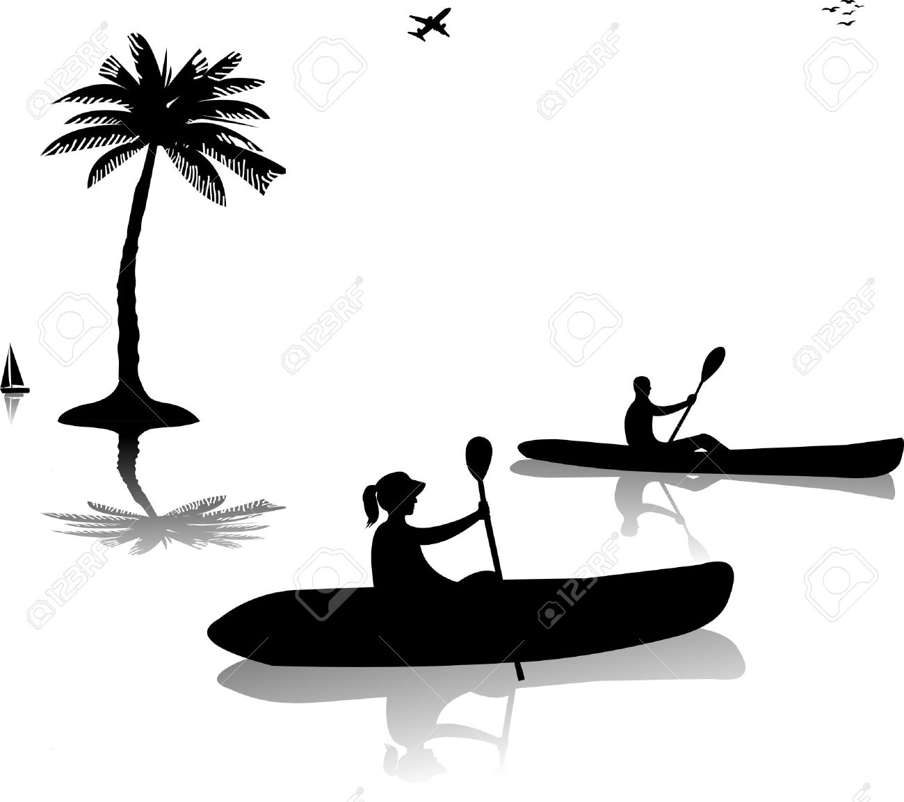 Rafting clipart silhouette Clipart 1 Vector white 559