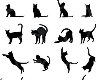 Black Cat clipart scrapbook Silhouette Commercial Download Instant Clip