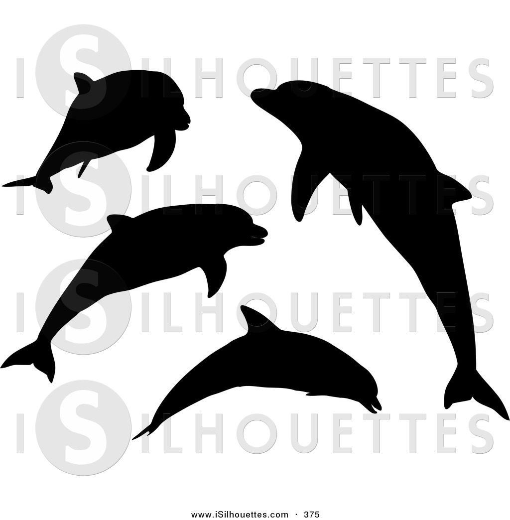 Shaow clipart dolphin Set Silhouetted a of a