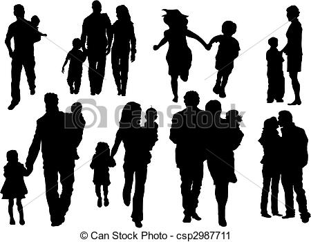 Crowd clipart family shadow Clip Family Art Silhouette Art