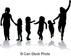 Shaow clipart family  of silhouette Art happy