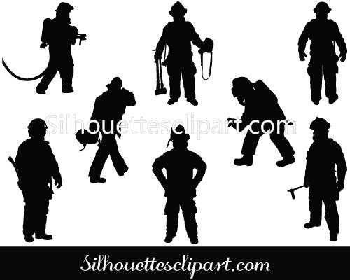 Shaow clipart fireman  Vector Silhouette Vector Free