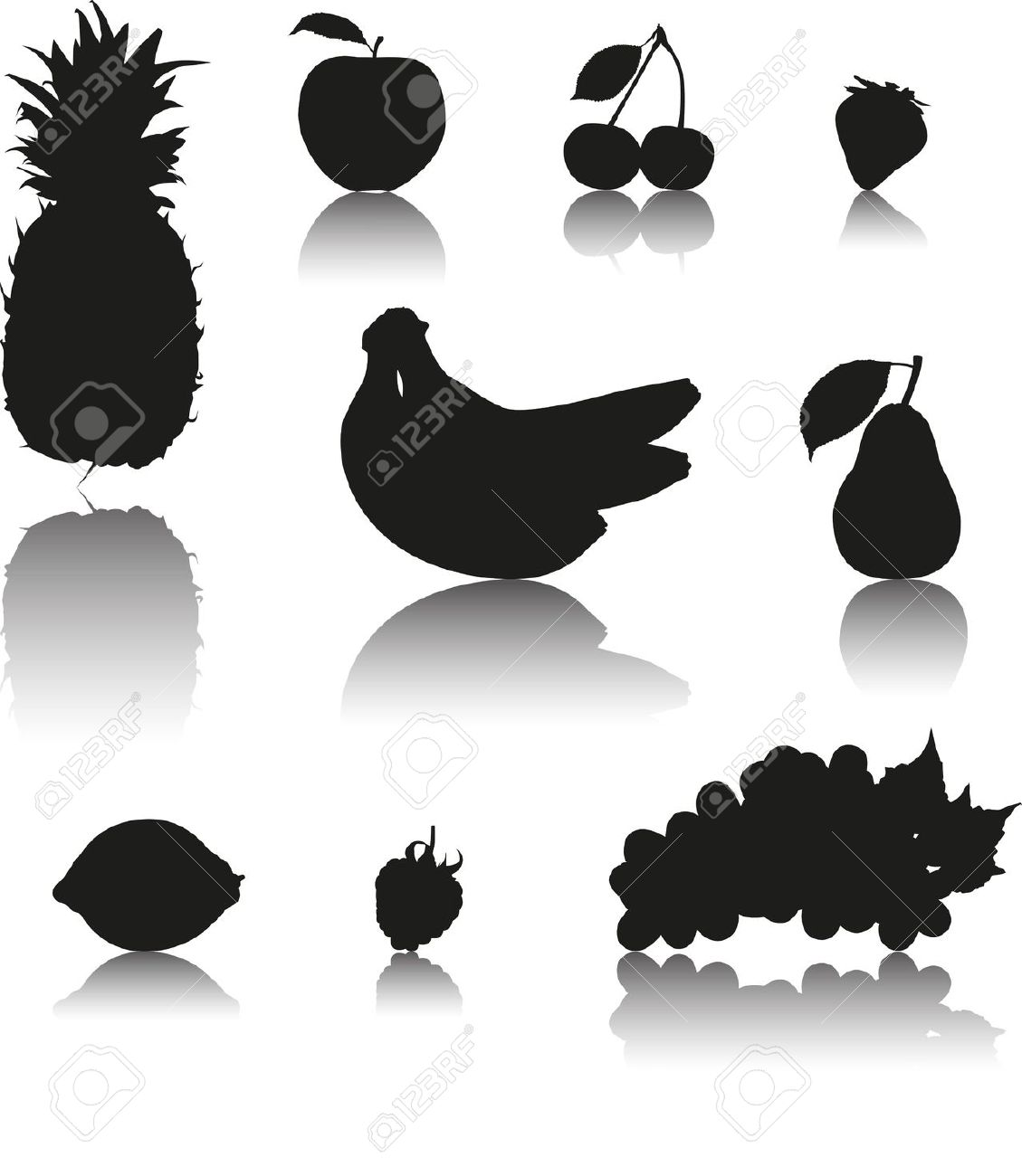 Shadow clipart fruit #9