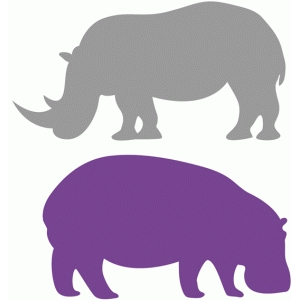 Shaow clipart hippo Design View and Silhouette View