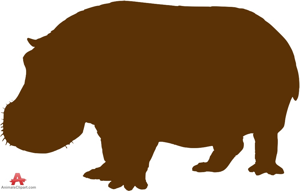 Brown clipart hippo Silhouette Clipart Free Brown Clipart