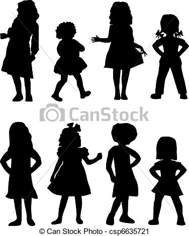 Shaow clipart kid shadow Art Silhouettes of of Girls