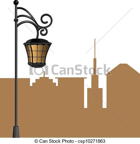 Light clipart city street Art Vector background lamp Vector