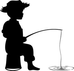 Shaow clipart little boy Boy fishing a Silhouette silhouette