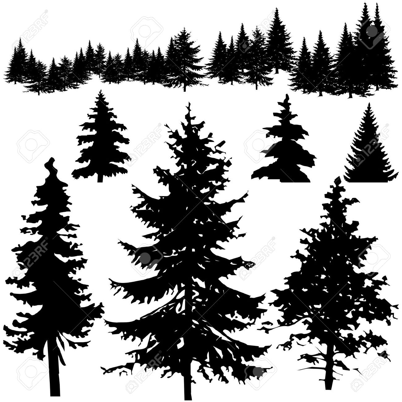 Shaow clipart pine tree 2 silhouette tree clipart Cliparting