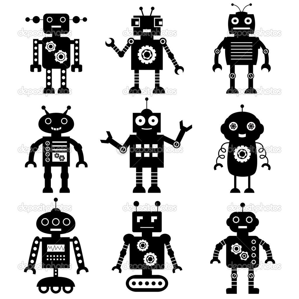 Shadow clipart robot #5