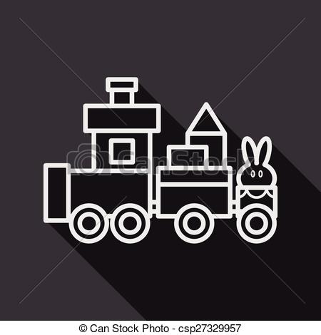 Shaow clipart train Flat long with icon of