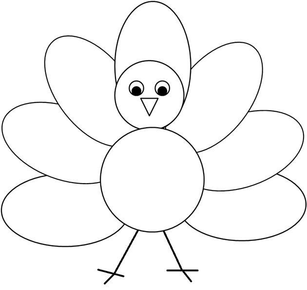 Turkey clipart black and white #13