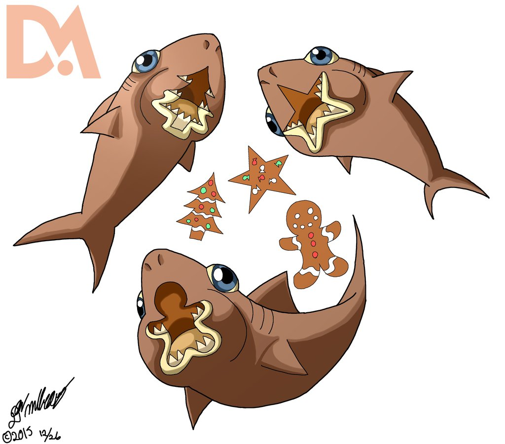 Shark clipart christmas #10