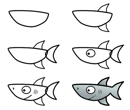 Drawn shark step by step Cartoon shark draw 3 cartoon
