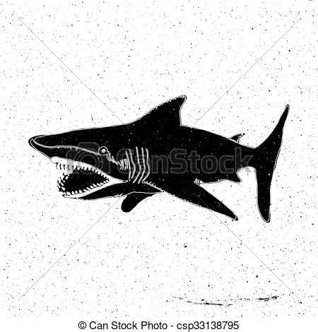 Tiger Shark clipart hand drawn #1