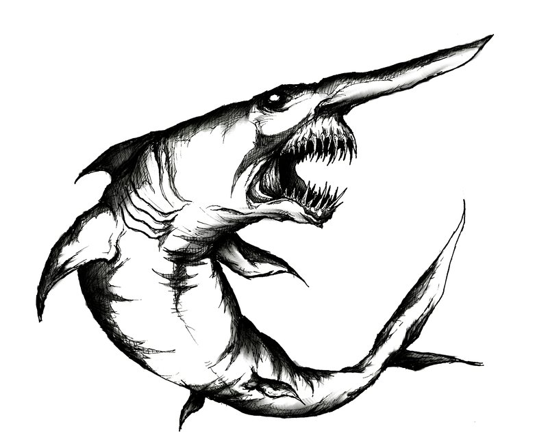 Drawn shark zombie shark Goblin Clipart Clip  Free